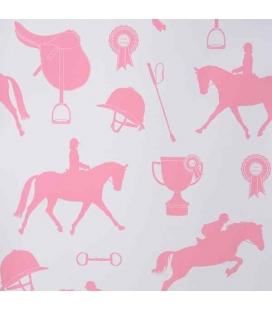 Papel pintado caballos rosa