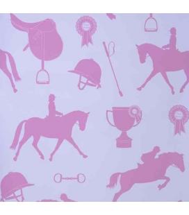 Papel pintado caballos fucsia