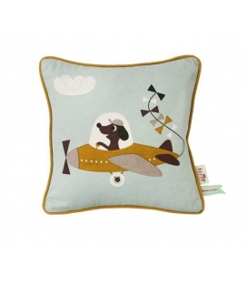 Cushion with airplane drawing