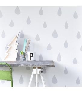 Papel pintado lluvia-gris