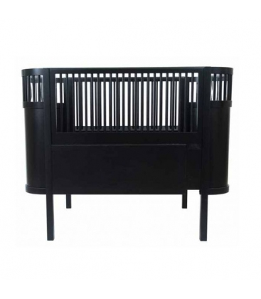 Cuna extensible diseño Danés Negra (colchón incluido)