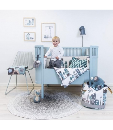 Cuna Extensible Diseño Danés Azul Clara (colchón incluido)