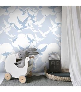 Mural Palomas azul